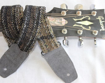 Guitar Strap in Handwoven Fabric with Ultra Suede Ends, one of a kind