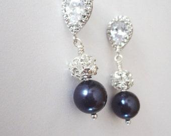 Pearl drop earrings - Navy pearl earrings ~ Cubic Zirconia's - Sterling posts - Crystal Rhinestones - Bridal jewelry - Bridesmaids - Gift