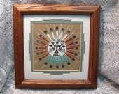 Vintage Navajo Sand Painting Sun Feathers Double Matted and Framed Artist Signed Sun Feathers