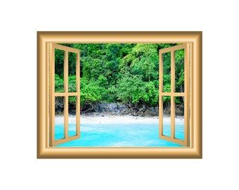 3d wall art beach scenery decal ocean and trees window frame beautiful scene peel stick easy to apply home dcor wall mural nw36