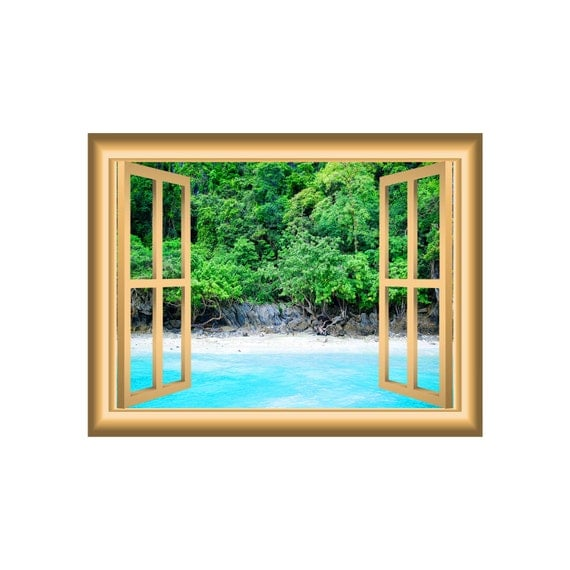 3d wall art beach scenery decal ocean and trees window frame beautiful scene peel stick