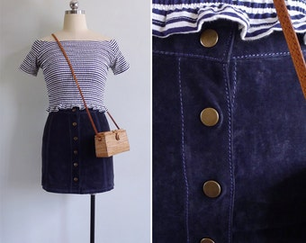 Vintage 70's Navy Blue Suede High Waisted Mini Skirt XXS or XS