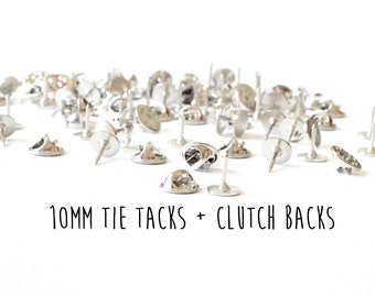 25 pieces - 10mm - Tie Tacks with Clutch Backs - Glueable Pad - 9mm length