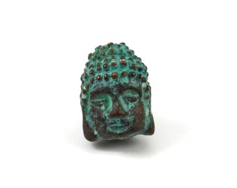 Buddha Head Bead - 12mm Green Patina - Charm or Pendant
