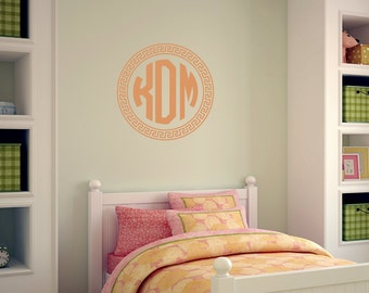 Block Monogram Wall Decal |  Monogram for Girls | Circle Monogram Nursery Decor | Dorm Room Decor