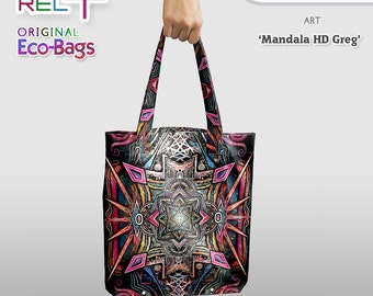 Mandala HD Greg * Eco Tote Bag : Original Print front and rear * High strength, durability, abrasion and water resistance. Style & Fashion