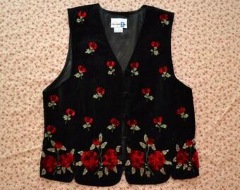 Vintage 90s VELVET Floral Rose Grunge Vest