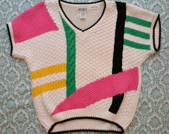 Vintage 80s Hand Knitted Colorblocked Chunky Knit Geometric Short Sleeve Sweater