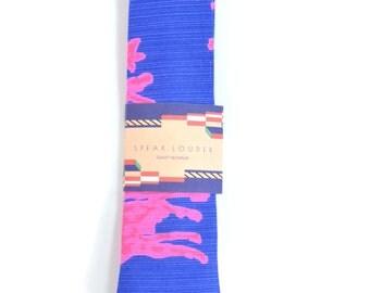 Blue pink Coral necktie - Wedding Mens Tie Skinny neon pink navy blue TROPICAL TIE Laid-Back necktie