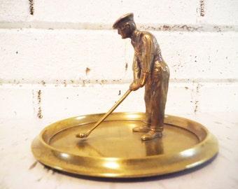 Mans large golf dresser caddy golfing golfer sports change dish office decor vintage