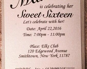 Sweet Sixteen Invitation, Invitation, Event Invitation, Wedding Invitation, Shower Invitation, Cream Invitation, Taupe Invitation, Classic