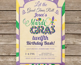 Mardi Gras Birthday Invitation -  Mardi Gras Party - Mardi Gras Birthday Party - Download & Personalize at home in Adobe Reader