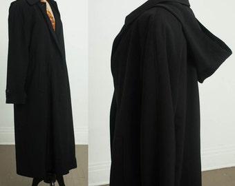 90s Black Hooded Trench Coat by Anne Klien II,  Water Resistant Rain Raincoat Overcoat size 10 womens medium large petite, hood trenchcoat