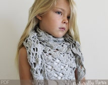Crochet Pattern: The Dinah Shawl -Toddler, Child, & Adult Sizes- lace triangle scarf delicate fall