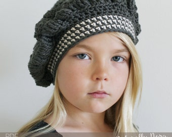 Crochet Pattern: The Molly Tam -Toddler, Child, & Adult Sizes striped nautical beret