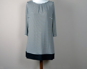 Striped dress, striped tunic dress, black tunic dress, aline dress, Jersey dress, Striped tunic,Black and white stripe, Women's clothes