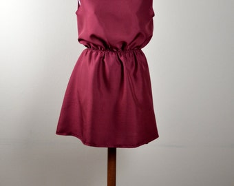 Burgundy tunic dress, silk dress, mini dress, knee length dress, burgundy dress, red dress, alice in wonderland dress