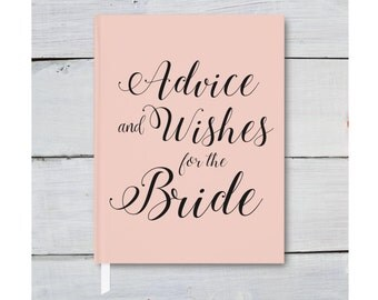 Custom Bridal Shower Guest Book, Advice Book for Brides, Blush Bridal Journal Gift, Wishes for the Mrs, Bridal Shower Favor, Wedding Book