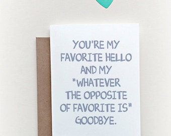 """Missing you Card """"Favorite Hello"""" Greeting Card. I miss you Card. Long Distance Relationship Card."""