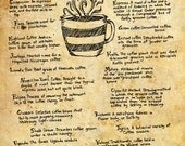 The ABCs of Coffee - 8x10 handdrawn and handlettered print on antiqued paper, tea, coffee