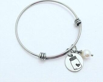 Mason Jar Bracelet - Expandable Adjustable Bracelet - Country Glass Jar - Stainless Steel Bangle - Mason Jar Bangle - Jar of Love - Mothers