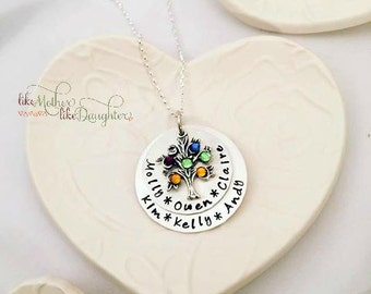 Mother's Necklace - Mothers Day from Husband - Birthstone Necklace - Personalized Birthstone Jewelry - Hand Stamped - Family Tree Necklace