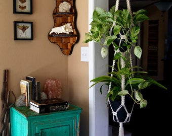 "Macrame Plant Hanger - 60"" Knotted Natural White Cotton Rope - Double Tier Indoor Hanging Planter - Boho Home, Nursery Decor - MADE TO ORDER"
