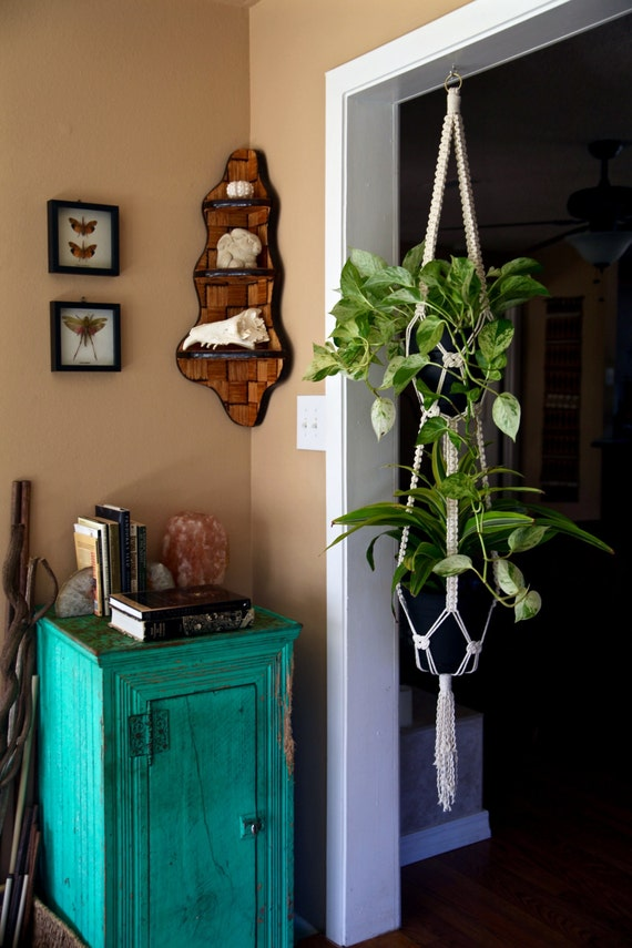"Macrame Plant Hanger - 60"" 4 Strand Knotted Double"