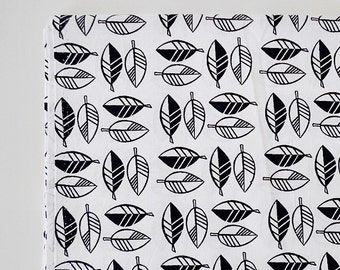 SALE Black Leaf, Leaf Fabric, Black White Fabric, Graphic Fabric, Decor Fabric, Red Leaf