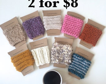 Knit Coffee Cozies, Colorful Cup Sleeves   2 for Eight Dollars
