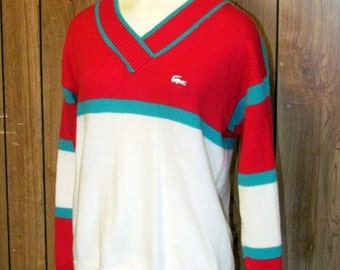 On Sale-Awesome 1980's TENNIS KNIT LACOSTE Sweater