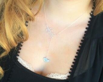 Silver Y Necklace-Silver Bird Necklace, Silver Bird Lariat, Bird Leaf Necklace, Sterling Silver Dainty, Feminine Jewelry, Branch Bird Charm