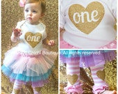 First birthday outfit girl Pink and gold birthday Gold glitter heart birthday outfit girl Tutu birthday outfit Baby leg warmers