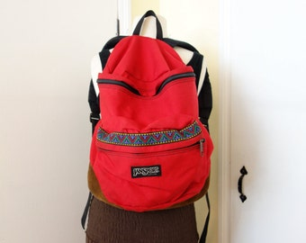 Classic Old School Jansport Rare Navajo Southwestern Trim Red USA Made Bookbag Backpack 1980s 1990s Leather Suede Bottom