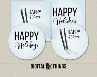 Printable Happy Holidays Christmas Tags Cupcake Toppers Pick. Favor Tags. Party Favor Printable Party Decor Decorations Collage Sheet DT1879