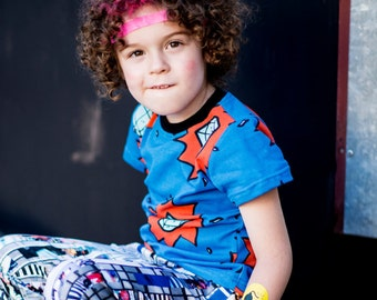 MIDSEASON SALE -70%  T-shirt with comic diamonds print for kids, made from organic cotton