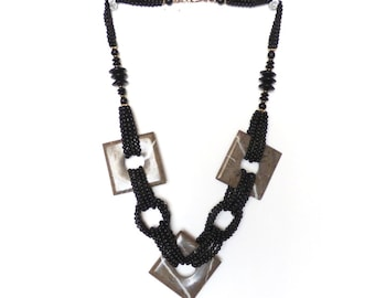 1980s Deco Revival Chunky Necklace Geometric Geo Goth Style Jewelry