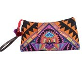 Orange Wristlet Purse Leather Strap With Embroidered Fabric (BG7997.28)