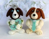 Beagle dog wedding cake topper customizable, robin egg blue accessories, personalized bride and groom with banner