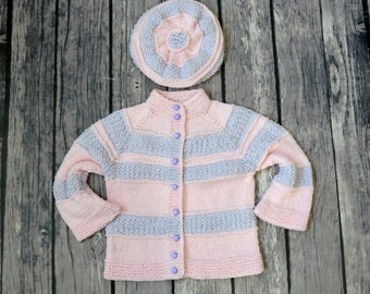 Hand Knit Baby Girl Sweater, pink gray Cardigan, Toddler cardigan, Baby shower Gift, Sweater hat Set, toddler clothes, organic cotton,