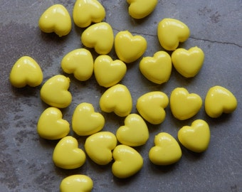 10mm Yellow Acrylic Heart Beads, 25 PC (INDOC9)
