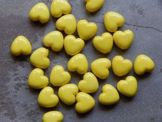 10mm Yellow Acrylic Heart Beads, 25 PC (INDOC9)