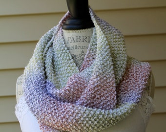 Chunky Knit Cowl - Double Wrap Scarf - Multi Colored Infinity Scarf