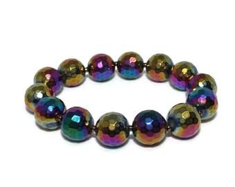Rainbow Finish Faceted Bead Stretch Bracelet, Stacking Bracelet, Boho Bracelet, Stack Bracelet, Beaded Bracelet