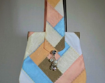 Pastel Boho Crazy Quilt Evening Bag with Handle