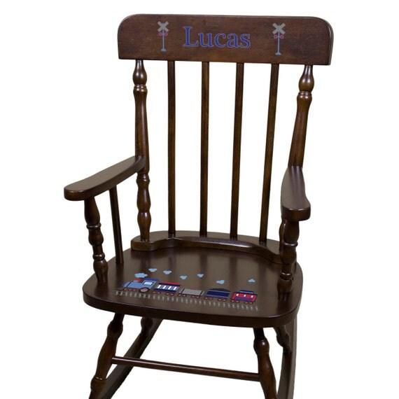 Personalized train rocking chair boys custom rocker childrens for Monogrammed kids chair