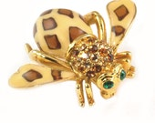 Joan Rivers Jewelry - Rhinestone Insect or Bee Brooch / Pin - Animal - Signed Costume Jewelry, Enamel - Joan of the Jungle Statement Jewelry