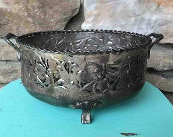Vintage Silver Planter / Embossed Catchall Bowl