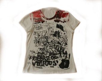 Sid vicious print tshirt - Friends of Vicious - Seditionaries Punk T-shirt tee - Sex Pistols -XS Small 32 chest - free uk postage