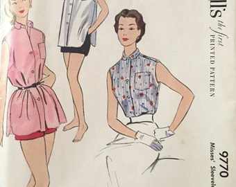 "Vintage 1954 McCall's Misses' Blouse Pattern 9770 Size 12 (30"" Bust)"